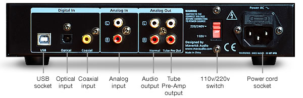 Back of Maverick Audio TubeMagic D1 Plus DAC